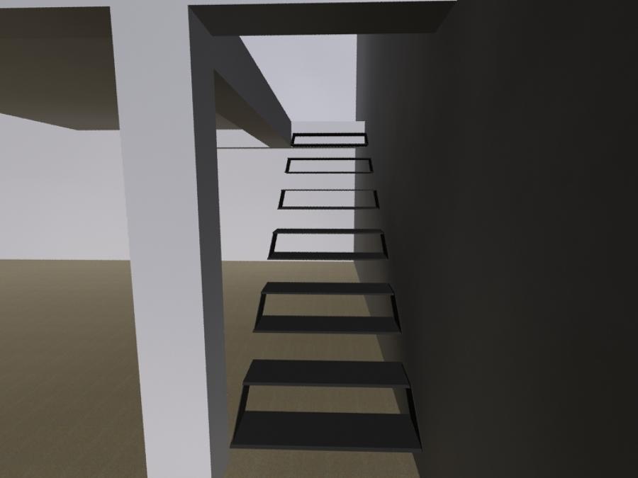 Diseño de escalera metalica moderna para casa habitacion en mexico DF